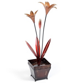 Lily Flower Pot Metal Statue