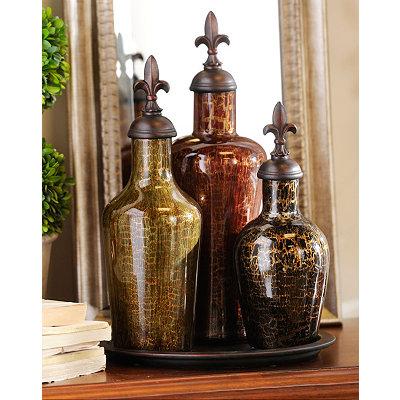 Gold Swirl Glass Bottle, Set of 3