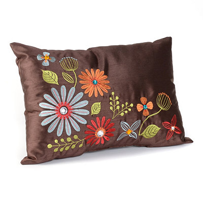Ariel Brown Floral Pillow
