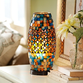 Blue & Brown Mosaic Jewel Uplight