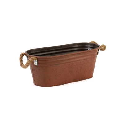 Red Planter with Rope Handles