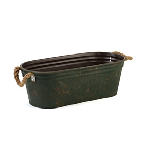 Green Planter with Rope Handles