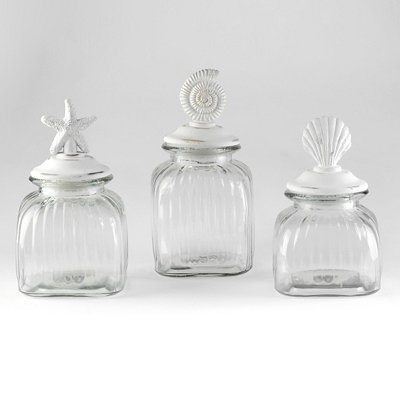 Coastal Glass Jar, Set of 3