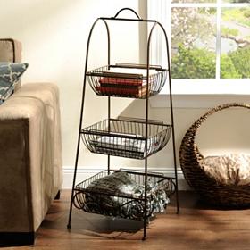 Bronze Triple Basket Floor Rack