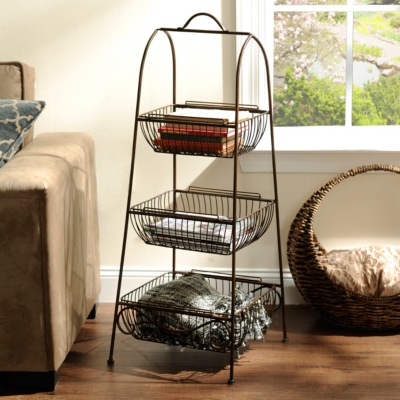 Bronze Triple Basket Floor Rack