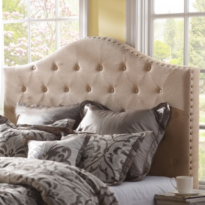 Oatmeal Linen Tufted King Headboard