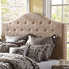 Oatmeal Linen Tufted Queen Headboard
