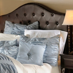 Espresso Faux Leather Tufted Queen Headboard