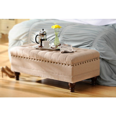 Oatmeal Linen Tufted Storage Bench