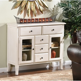 Ivory Handpainted Wood Cabinet