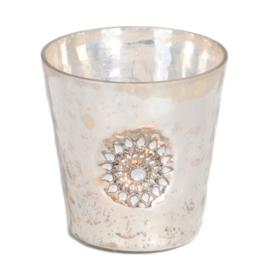 Silver Sunburst Votive Holder