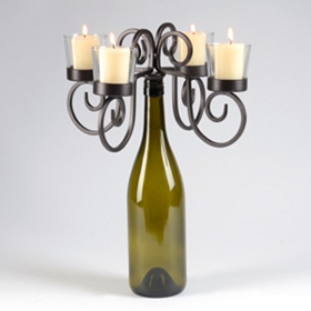 Vintage Wine Bottle Candelabra