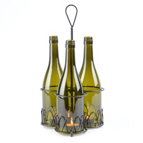 Wine Bottle Caddy Candle Holder