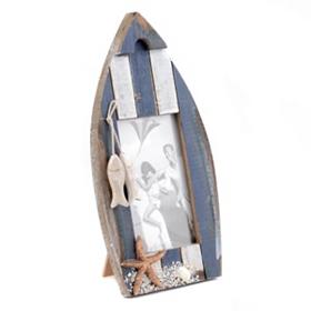 Blue & White Fishing Boat Frame, 4x6