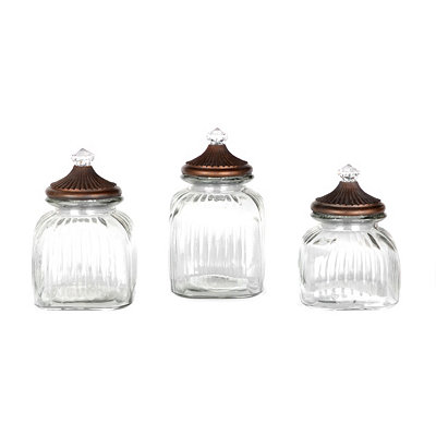 Clear Finial Glass Jar, Set of 3