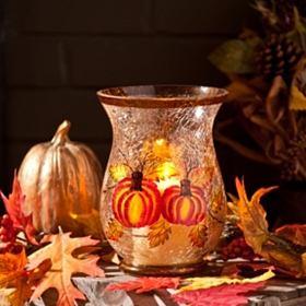 Hand-Painted Pumpkin Hurricane, 8 in.