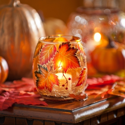 Hand-Painted Leaf Votive, 4 in.