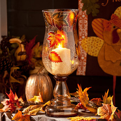 Hand-Painted Leaf Hurricane, 15 in.