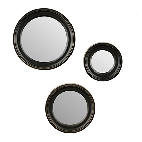 Black Plate Wall Mirror, Set of 3