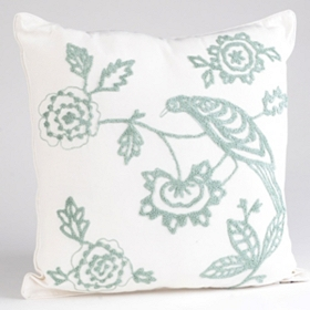 Turquoise & White Ari Bird Cord Pillow