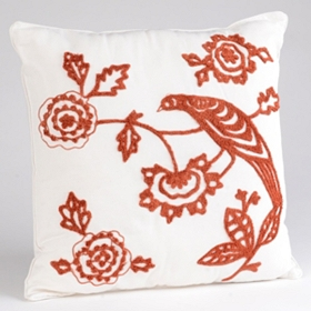 Spice Red & White Ari Bird Cord Pillow