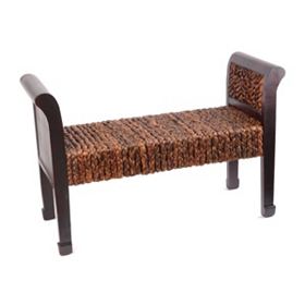 Banana Leaf Woven Wood Bench