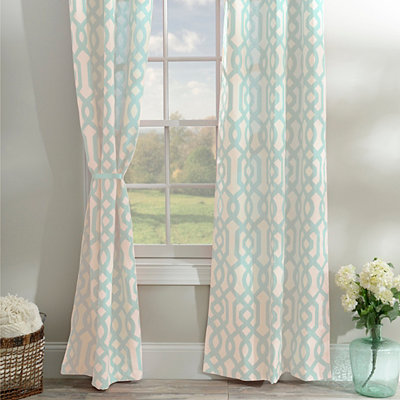 Aqua Gatehill Curtain Panel Set, 95 in.