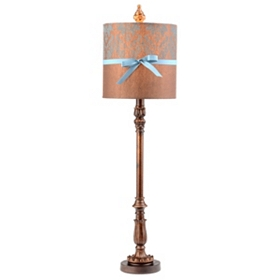 Bronze & Blue Damask Buffet Lamp