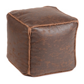 Antique Brown Faux Leather Ottoman
