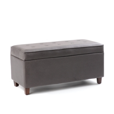 Slate Gray Tufted Storage Bench