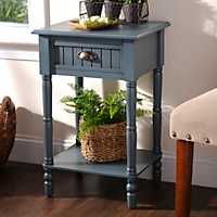 Blue Beadboard Accent Table