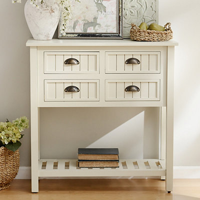 Buttermilk Beadboard 4-Drawer Console Table