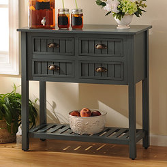 Blue Beadboard 4-Drawer Console Table