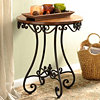 Renea Scrolled Wood & Metal Accent Table