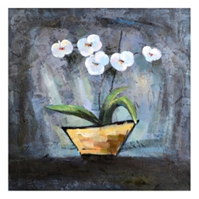 White Flowers In A Vase Canvas Art Print