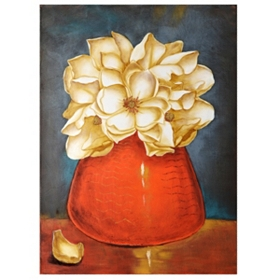 Magnolias In A Red Vase Canvas Art Print
