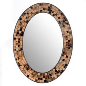 Tortoise Mosaic Oval Wall Mirror, 24x32
