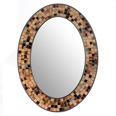 Kirklands tortoise mosaic oval wall mirror 24x32 for Mirror questions