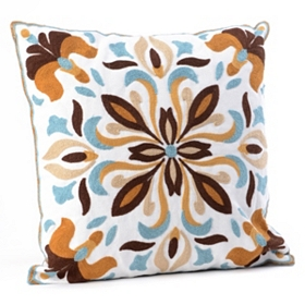 Blue & Brown Medallion Tile Pillow