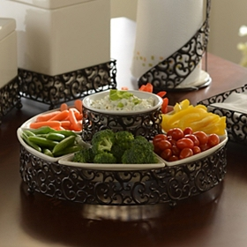 Pressed Metal Chip & Dip Serving Bowl