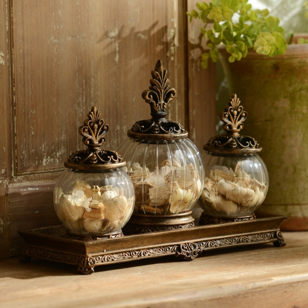 Attractive Gold Filigree Glass Jar, Set Of 3