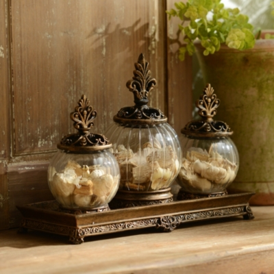 Gold Filigree Glass Jar, Set of 3