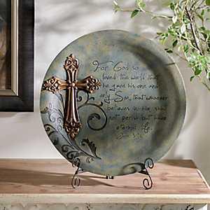 For God So Loved Blue Resin Plate
