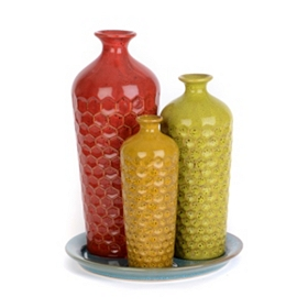 Honeycomb Ceramic Vase, Set of 3