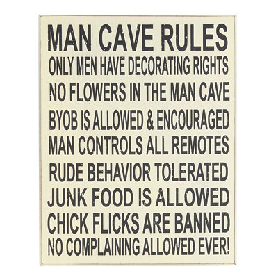 Man Cave Rules Wall Plaque