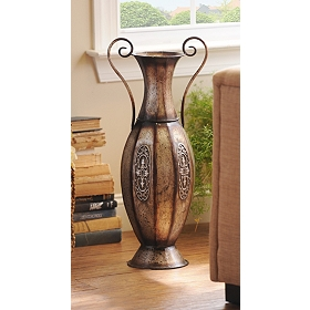 Pewter Urn Embossed Metal Floor Vase
