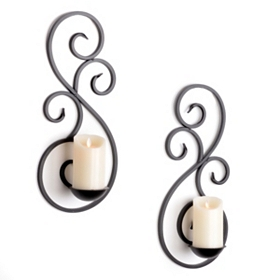 Scrolled Metal Sconce, Set of 2