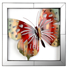 Mirror Framed Butterfly Metal Wall Art