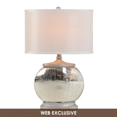 Crackled Silver Glass Table Lamp
