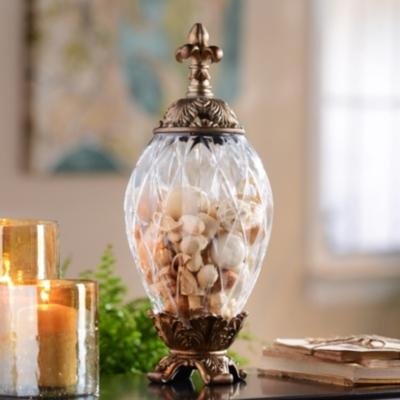 Gold Fleur-de-Lis Glass Jar